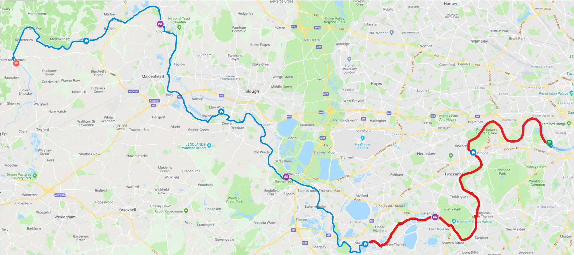Thames path challenge 100km route